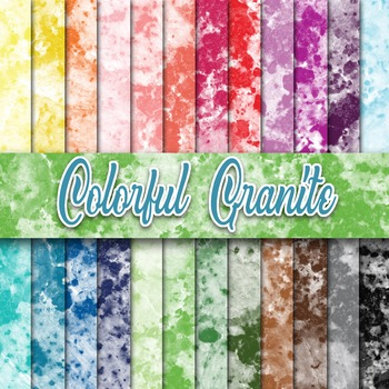 Colorful Granite Textures - Digital Paper Pack - 24 Differ