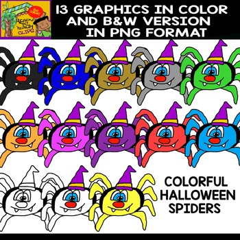 Colorful Halloween Spiders - Set of Cliparts