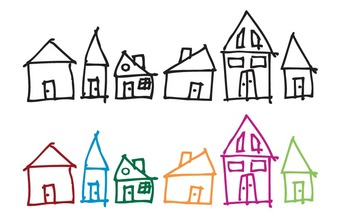 Colorful Hand-Drawn Houses Clip Art