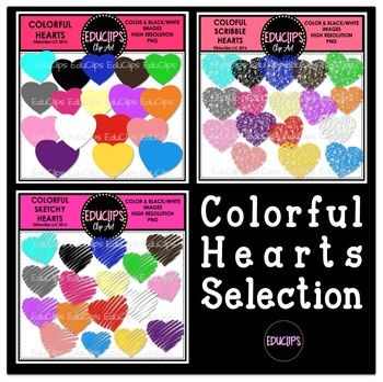 Colorful Hearts Clip Art Selection (Bundled)