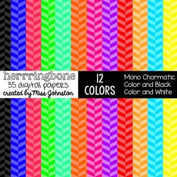 Colorful Herringbone Digital Papers
