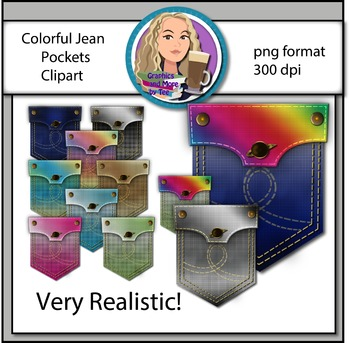 Colorful Jean Pockets Clipart