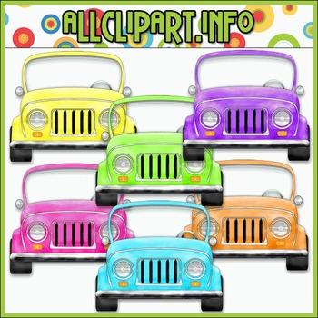 $1.00 BARGAIN BIN - Colorful Jeeps (Bright) Clip Art