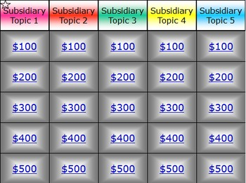 Colorful Jeopardy Template