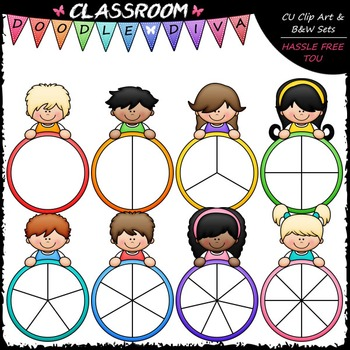 Colorful Kid Spinners Clip Art - Games Clip Art & B&W Set