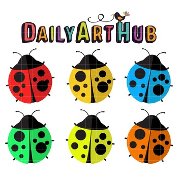 Colorful Lady Bugs Clip Art - Great for Art Class Projects!