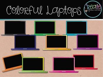 Colorful Laptops - Digital Clipart