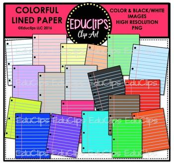 Colorful Lined Paper Clip Art Bundle