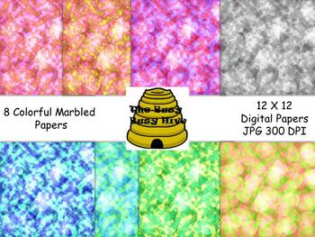Colorful Marbled Digital Papers {8 backgrounds for persona