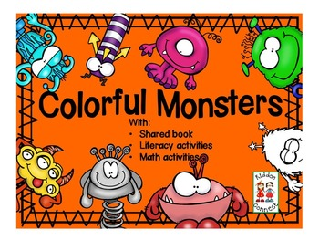 Colorful Monsters with literacy, writing, math, problem so