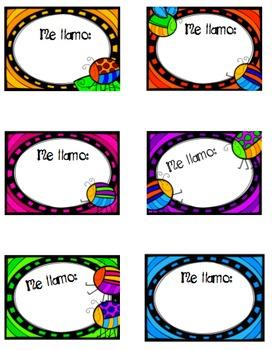 Colorful NameTags - Spanish