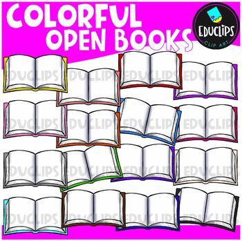 Colorful Open Books Clip Art Bundle