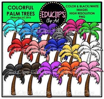 Colorful Palm Trees Clip Art Bundle