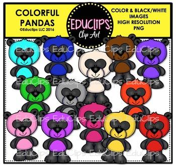 Colorful Pandas Clip Art Bundle