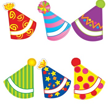 Colorful Party Hat Cut Outs - Pink Blue Yellow Red Green Purple