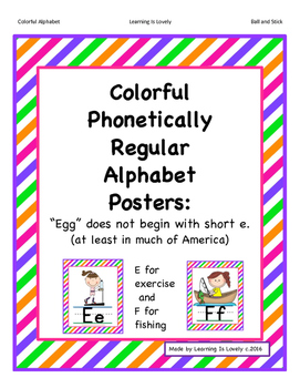Colorful Phonetically Regular Alphabet Posters in 2 Sizes