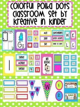 Colorful Polka Dot Classroom Decor Set