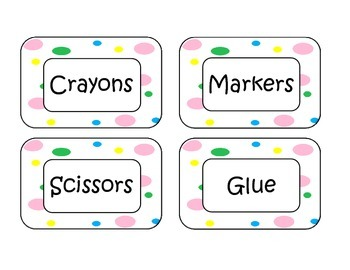 Colorful Polka Dot Classroom Labels