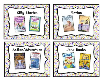 Colorful Polka-Dot Classroom Library Book Basket Labels Ad