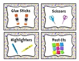 Colorful Polka-Dot Classroom Supply Bin Labels