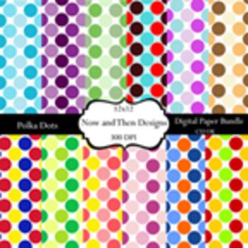 Colorful Polka Dot Digital Paper/ Background