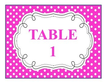 Colorful Polka Dot Table Numbers Posters