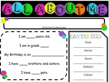 "Colorful Polka-dot ""All About Me"" Sheet"