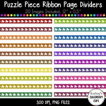 Colorful Puzzle Piece Stitched Ribbon Borders - Autism Awareness