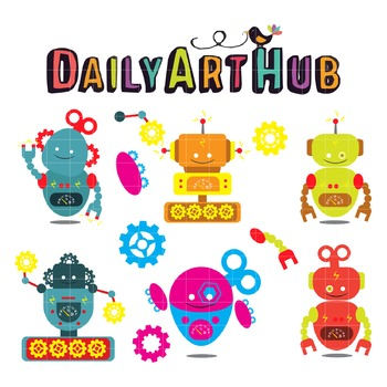 Colorful Robots  Clip Art - Great for Art Class Projects!