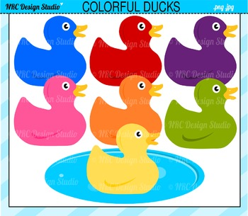 Colorful Rubber Ducks Clip Art