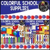 Colorful School Supplies Clip Art Bundle