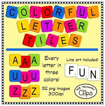 """Colorful """"Scrabble"""" Inspired Letter Tiles - Clip Art"""