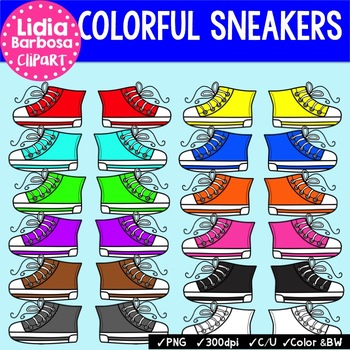 Colorful Sneakers {Clip Art for Teachers}