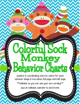 Colorful Sock Monkey Theme Behavior Tracking System ***edi
