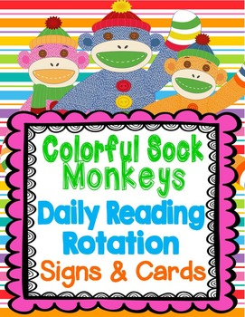 Colorful Sock Monkey Theme Daily Reading Rotation Signs an