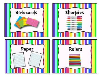 Colorful Stripe Classroom Supply Bin Labels