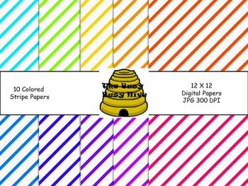 Colorful Stripe Papers {10 backgrounds for personal & comm