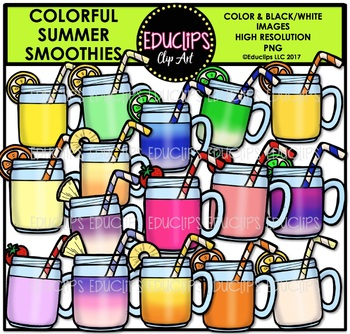 Colorful Summer Smoothies Clip Art Bundle {Educlips Clipart}