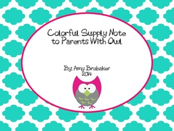 Colorful Supply Note to Parents with Pink Owl