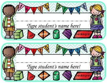 Colorful Third Grade EDITABLE Name Plate