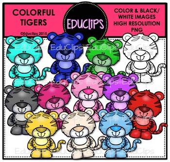 Colorful Tigers Clip Art Bundle