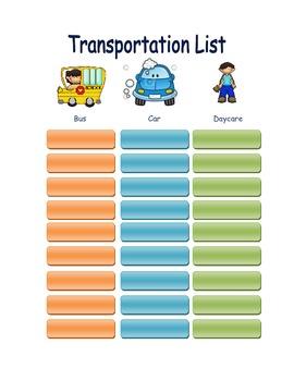 Colorful Transportation Form
