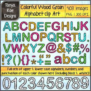 Colorful Woodgrain Alphabet Digital Clip Art