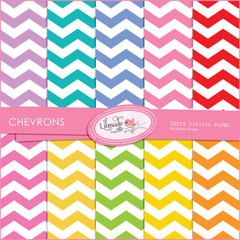 Colorful chevron commercial use digital papers