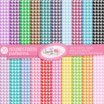 Colorful houndstooth commercial use digital papers