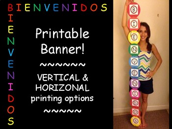 Colorful, vertical banner! - Bienvenidos - OVER 5 FT. TALL!