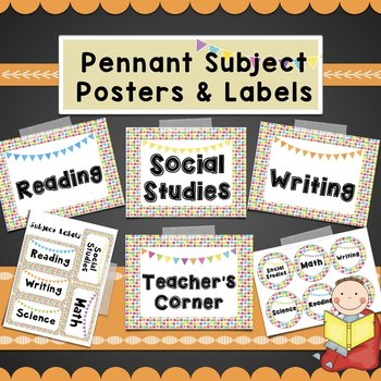 ColorfulSubject Posters-Math, Reading, Writing, SocialStud