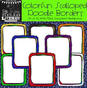 Colorfun Scalloped Doodle Borders: For Personal & Commercial Use