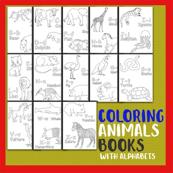 Coloring Animals Books with Alphabets