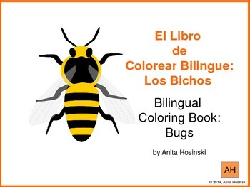 bilingual spanish coloring book bugs theme